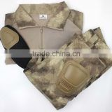 Frog style Poly cotton Battle rip stop military camouflage uniforms with elbow and knee pad BDU