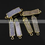 JF8594 Hot sale Sparkly Natural agate gold plated bar rectangle druzy drusy connectors                                                                         Quality Choice