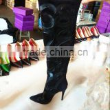 Guangzhou Manufacturer Black Suede High Quality Soft Leather Booty High Thigh High Heel Boots for Women, Ladies Over Knee Boot