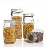 Alibaba Top Chinese Supplier Customized Handle Cookie Dry Fruit Glass Jar With Glass Lid