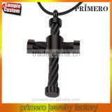 Fashion Punk Twisted Stainless Steel Cable Wire Charm Jesus Cross Pendant Necklace Jewelry