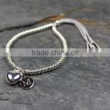 Lovely Couple 316L Silver Tone Rosary Bracelet with Heart Pendant Name Engravale Custom Pendant Unisex Style