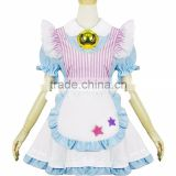 4 pcs Kitten Maid Costume Pink Stripes Blue Dress Maid Uniform Kawaii Cute Girl Lolita Dress with Bell Necklace