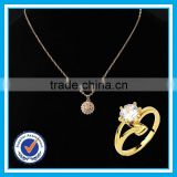 Artificial crystal gold ring necklace 2pcs set western wedding ring sets