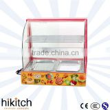Restaurant kitchen equipment electric 0.8KW 660mm glass cover food warmer display showcase