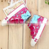 2015 lovely bow design girls canvas high shoes with 23-37 size, suits for 3-12 years babies