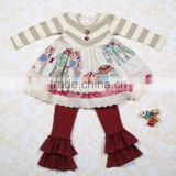 beautiful baby stylish embroidery long sleeve cotton dress and ruffle pant kids clothes