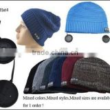 Premium Outdoor Wireless Bluetooth Beanie Hat Cap Pom Pom with Stereo Headphone Headset Earphone Speakers Mic Hands Free Speaker