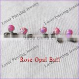 With 3 Claws Rose Opal Ball Body Piercing Jewelry Unique Dermal Anchor Piercing [OB-913]