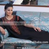 Women latest embrodiery design 100% polyester black turkish clothes for women Chian wholesale abaya turkey