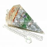 Wholesale Of Orgone Chakra Pendulum : ORGONE GREEN AVENTURINE METAL LAYER FACET PENDULUM