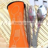 High quality Steel Fork Spoon Cutlery Portable Bag/ Picnic Chopstick Camping Travel Stainless