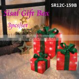 3PC Sisal Gift Box with snowman light/LED Christmas gift box lighting ( MOQ: 200PCS,GS/CE/UL)
