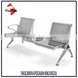 Durable 304 stainless steel airport beam seating with table