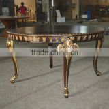 Antique Luxury Round Dining Table With Gold Leaf Finish On Carving Detail