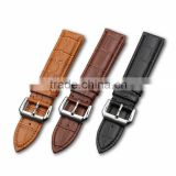 Wholesale high quality stainless steel buckle genuine leather watch strap,black/brown/yellow strap
