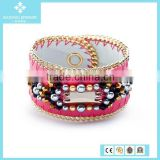 Hot European Charms Pink Goatskin Leather Crystal Glass Beads Bracelet
