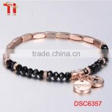 stainless jewelry 2017 new gold bracelet designs for girls black rhinestone crystal beads charm bead bracelet bangle