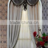 European Classical Solid Beige Velvet Wedding Door Window Curtain, Ready Made Valance Arched Door Curtain