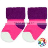 Hot Pink With Purple Soft Cotton Winter Warm Foot Kids Baby Socks