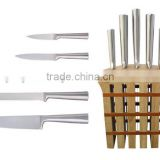 5-Pieces Knife set: 5 knives + wooden knife block.