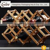 Beautiful and super quality novelty portable folding wooden bamboo display red wine bottle rack