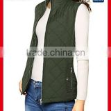 Woman winter soft quilted nylon vest Stand collar