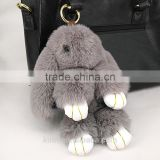 New design Rabbit Faux Fur Doll Hare Bunny Keychain Holder Keyring Women Bag Pendant Giftt15cm and 19cm Fmq-45