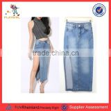 PGWC-3438 Latest Fashion Women Denim Dress Wrapped Jeans Skirt Wholesale long jeans skirts