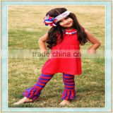 Baby without clothes bright-coloured top stripes ruffle pants used imported arabic girls outfit