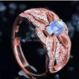 925 silver plated rose gold ( Platinum) Blue moon ring