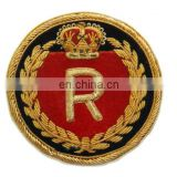 Hand Embroideried Gold bullion Badge, patch, crest, Embroidered Fashion Badges, Coats of arm
