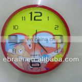 promotional cartoon wall clock for kids,funny decoration wall clock