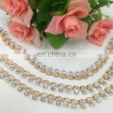 hot sell drop crystal gold color metal chain trimming sew on clothing bags or shoes garment accessories