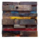 30x30 Recycled old ship wood wall covering panels 3D wall panel natural colorful Mosaics
