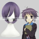 High Quality 35cm Short Straight Nagato Yuki Wig Violet Anime Wig Synthetic Cosplay Costume Hair Wig Party Wig