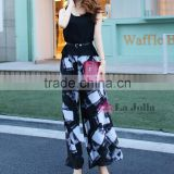 2016 Hot ladies elegant black fashion chiffon wide-legged pants suit