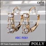 Simple jewellery design lever back 14k gold and cz earrings