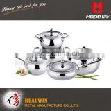 3 layered bottom cookware with heat conduction german style cookware sets