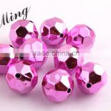 Pink Color New AAA Quality Chunky 20mm Faceted Acrylic UV Plating Beads for Chunky Beaded Necklace Jewelry