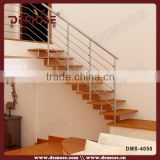 oak stair stringers / plastic stair treads with stainless steel railing