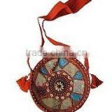 Ethnic recycled fabric Shoulder bags Beautiful zari work, embroidery, patches, shells and beads are handcrafted on this bag