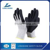 High Quality 13G Black Foam Latex Coated Knitted Liner Heat and Cut Resistant Working Safety Gloves China