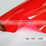 Colorful Transparent PET Film for window and home decoration,Red decorative vinyl window glass static film