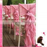 Chivari self-tie chiffon chair cover/new design 2015 pink waves wedding chair cover /banquet party fancy fashion chair cover $1