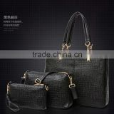 New arrival purses and handbags fashion alligator 3pcs is one set crocodile leather bag set