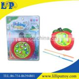 Cartoon apple shape B/O fishing game toy with music