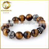 wholesale tiger eye bead with four stainless steel charm bead mens bead bracelets                                                                         Quality Choice