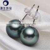 18 k goldAAA quality high luster black tahitian pearl studs