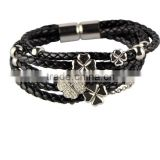 Charm Stainless Steel Black Leather Bangle 316L Leather Bracelet With Gold Balls and Flowers